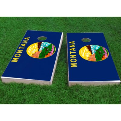 Montana State Flag Cornhole Game Bag Fill: Whole Kernel Corn, Size: 48