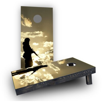 Soldier Silhouette at Dusk Cornhole Boards CCB498-C