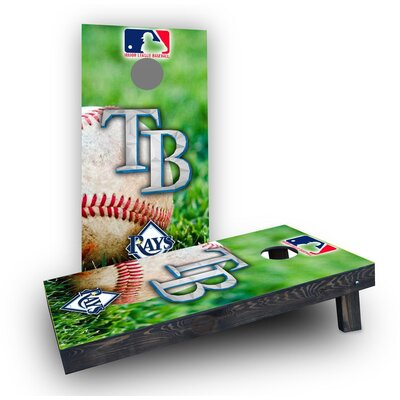MLB (Tampa Bay Rays) Theme Cornhole Boards Bag Fill: Light Weight Boards with Corn Filled Bags CCB629-C