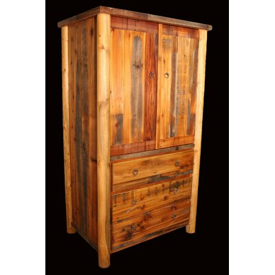 Barnwood 3 Drawer Armoire with Round Legs