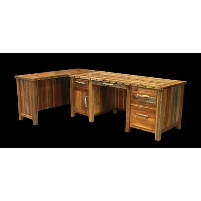 L Shape Executive Desk Barnwood Product Photo 8732