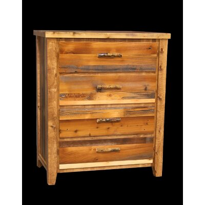 Barnwood 4 Drawer Chest with Square Legs
