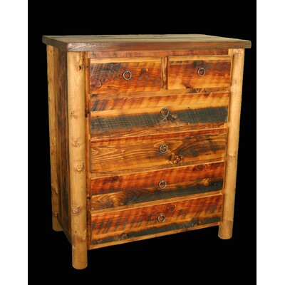 Barnwood 5 Drawer Split Top Chest
