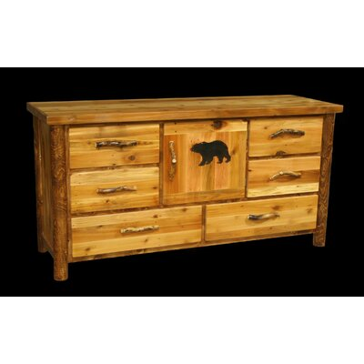 Barnwood 6 Drawer Cupboard Unit with Round Legs