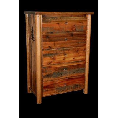 Barnwood 5 Drawer Chest with Round Legs