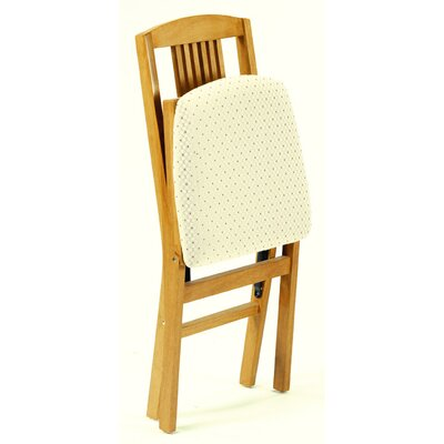 stakmore true mission wood folding chair with black vinyl