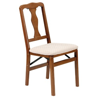 cheap stakmore queen anne wood folding chair with upholstered seat in
