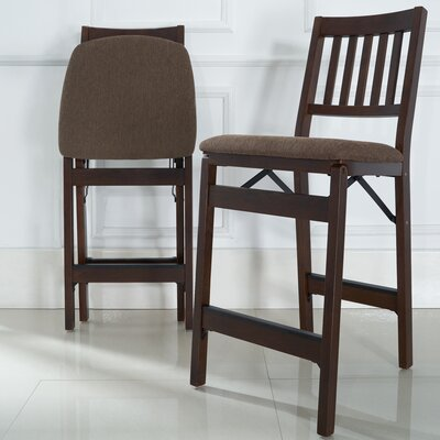 Emington Folding Barstools with Cushion Finish: Dark Brown