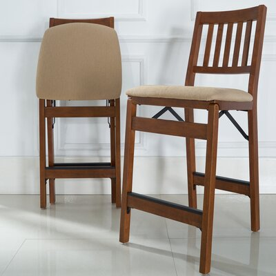 Emington Folding Barstools with Cushion Finish: Brown