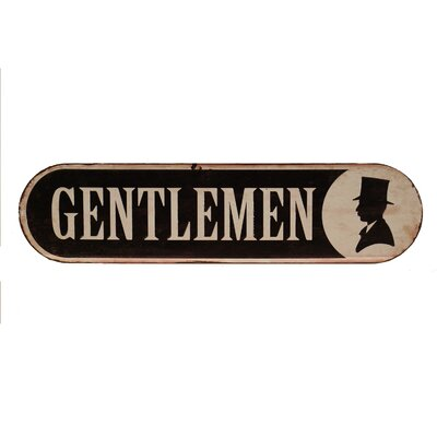 Metal Bathroom Sign 'Gentlemen' Wall Décor