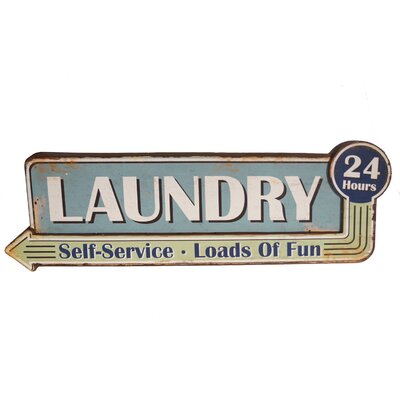 Metal Sign 'Laundry 24 Hrs' Wall Decor