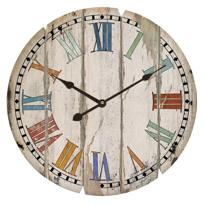 Oversized 23 Wood Colorful Slats Wall Clock