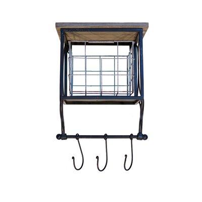 Metal Bin with Wood Shelf