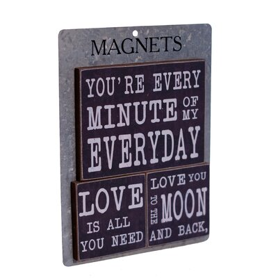 3 Piece Wood Magnets 'Every Minute' Wall Decor Set