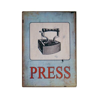 Metal Laundry Sign 'Press' Wall Decor