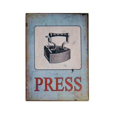 Metal Laundry Sign 'Press' Wall Decor