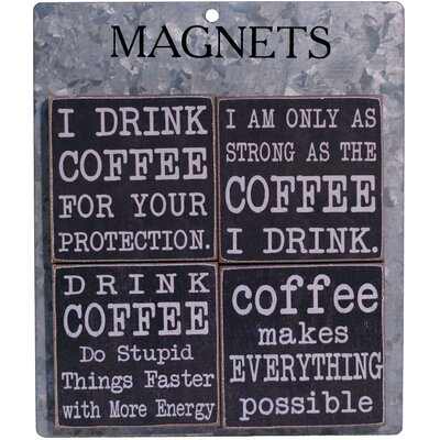 4 Piece Coffee' Wood Magnet Clip Set