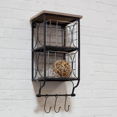 Metal Double Bin with Wooden Shelf