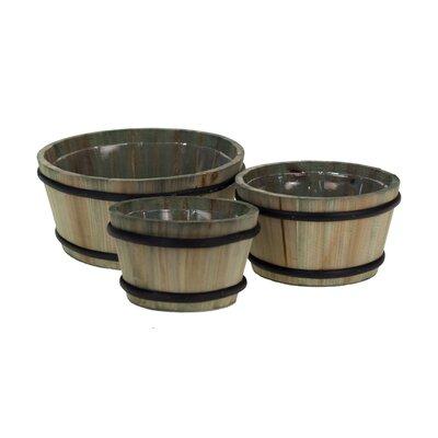 3-Piece Wood Barrel Planter Set MC1027