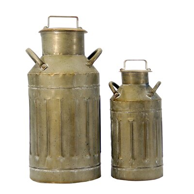 2 Piece Metal Milk Jug Decorative Bottle Set