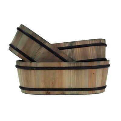 3-Piece Wood Barrel Planter Set MC1028