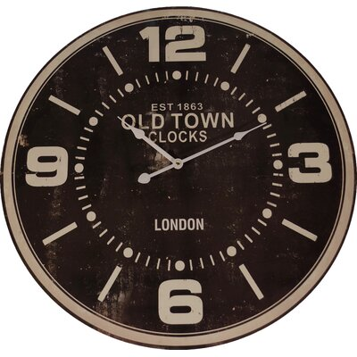 Oversized 23 Wood 'Old Town' Wall Clock