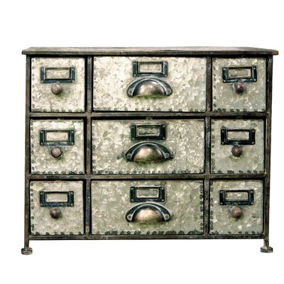 Faded Charm 9 Drawer Desktop Storage Chest