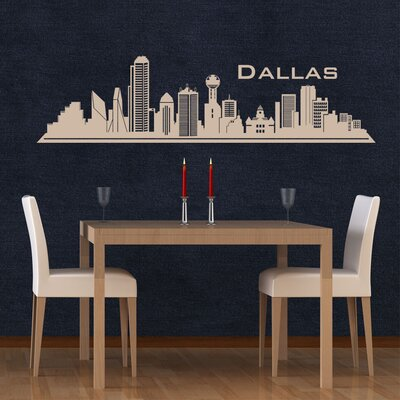 Dallas Skyline Wall Decal Color: Pink