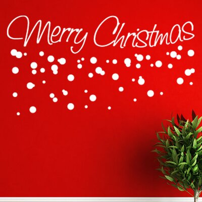 """Merry Christmas Wall Decal Size: 14"""" H x 31"""" W, Color: White"""