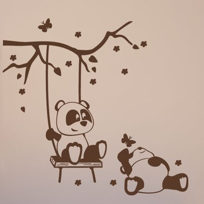 Panda Friends Wall Decal S-Beige-4042