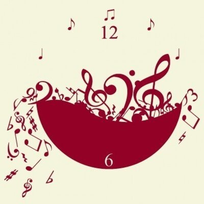 Music Wall Clock Wall Decal Color: Pink