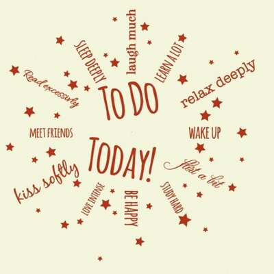 To Do Today Wall Clock Wall Decal Color: Pink