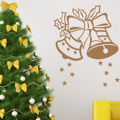 """Christmas Bells Wall Decal Size: 46"""" H x 36"""" W, Color: Gold"""