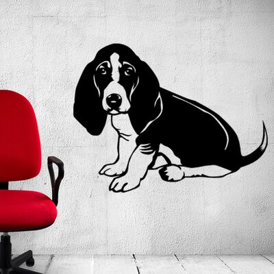 "Basset Hound Wall Decal Size: 18"" H x 24"" W, Color: Royal Blue S-Royal Blue-2473"