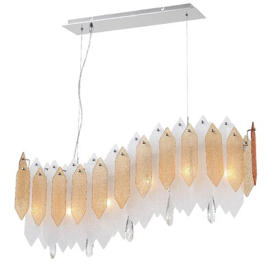 Dicle 6-Light Kitchen Island Pendant Shade Color: Amber