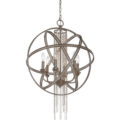 Cascade 6-Light Globe Pendant Finish: Silver Leaf Burnished