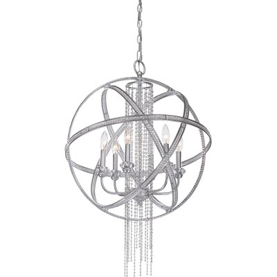 Kelson 6-Light Globe Pendant Finish: Silver Leaf