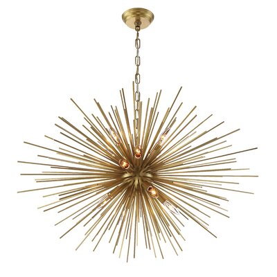 Burst 12-Light Cluster Pendant Finish: Aged Brass, Size: 23.5 H X 35.5 D