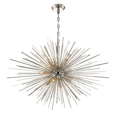 Wendler 12-Light Cluster Pendant Finish: Polished Nickel, Size: 23.5 H X 35.5 D