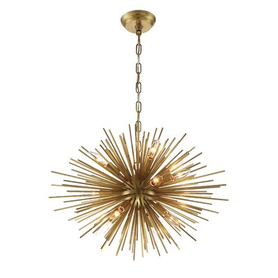 Burst 12-Light Cluster Pendant Finish: Aged Brass, Size: 18.11 H X 23.6 D