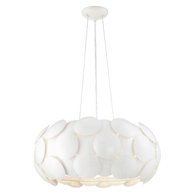 Bianco 7-Light Drum Pendant Finish: Gloss White