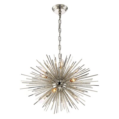 Wendler 12-Light Cluster Pendant Finish: Polished Nickel, Size: 18.11 H X 23.6 D