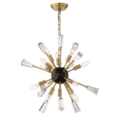 Muse 12-Light Cluster Pendant Finish: Aged Brass/Matte Black