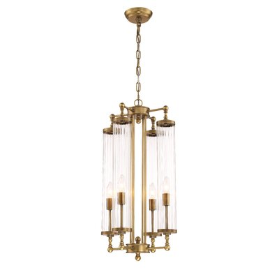 Regis 4-Light Candle-Style Chandelier Finish: Aged Brass, Size: 28.3 H X 14.17 D