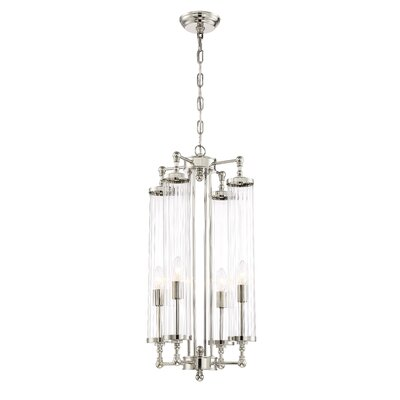 Regis 4-Light Candle-Style Chandelier Size: 28.3 H X 14.17 D, Finish: Polished Nickel