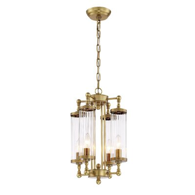 Leonia 4-Light Candle-Style Chandelier Finish: Aged Brass, Size: 16.5 H X 12.2 D