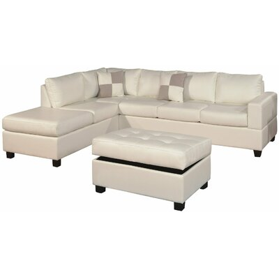 Reversible Chaise Sectional Upholstery: White