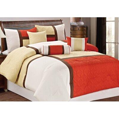 7 Piece Comforter Set Size: King, Color: Orange