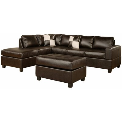 Reversible Chaise Sectional Upholstery: Espresso