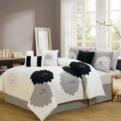 Madison Home USA 7 Piece Comforter Set - Size: Queen Color: Black